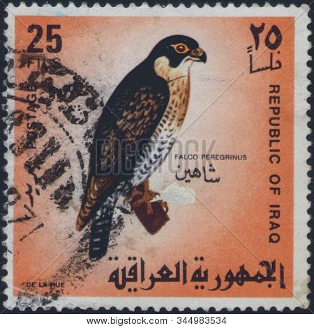 Saint Petersburg, Russia - January 13, 2020: Postage Stamp Issued In Iraq With The Image Of The Pere
