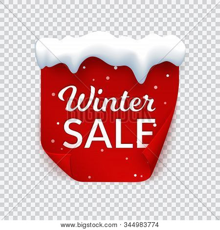 Winter Sale Banner With Snow Cap, Red Paper Page With Bent Corners And Snow, Isolated Vector Illustr