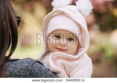 Portrait Of Cute Little Baby Girl Outside With Mom. Beautiful Girl Smile. Five Month Baby. Happy Fam