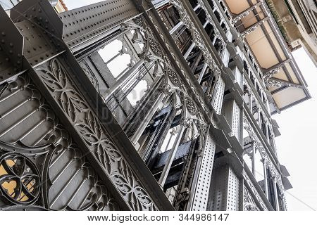 Image Of The Famous Elevator In Lisbon: Santa Justa Elevator Or The Santa Justa Elevator. It Attrack