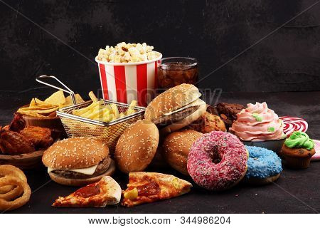 Unhealthy Products. Food Bad For Figure, Skin, Heart And Teeth. Assortment Of Fast Carbohydrates Foo
