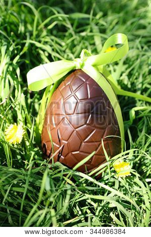 chocolate egg and green bow in the garden- easter day