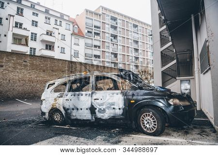 Strasbourg, France - Jan 1, 2020: Side View Of Burnt Car By Vandals In Strasbourg, France During The