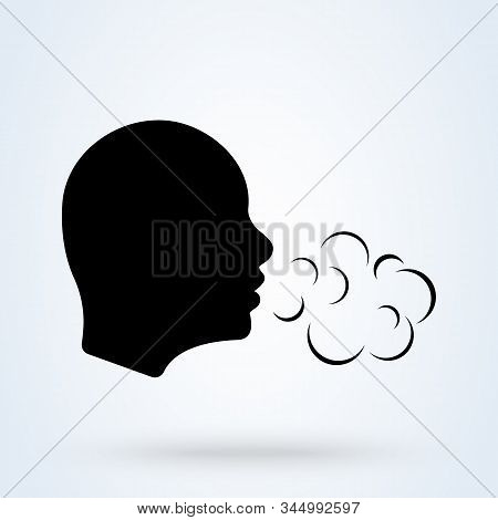 Breathing And Human Head Breath. Breathe Illness Cough.  Simple Vector Modern Icon Design Illustrati
