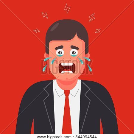 A Man In A Suit And Tie Is Crying. Panic Attack. Flat Character Vector Illustration.