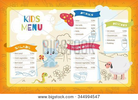 Cute Colorful Kids Meal Menu. Placemat Vector Template With Cartoon Little Animals, Flowers And Tree