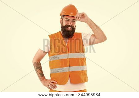 Strong Handsome Builder. Creating Solid Foundation. Man Protective Hard Hat And Uniform White Backgr