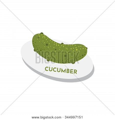 Raw Cucumber On Plate Vegan Menu Concept. Green Juiced Vegetable Textured Illustration.