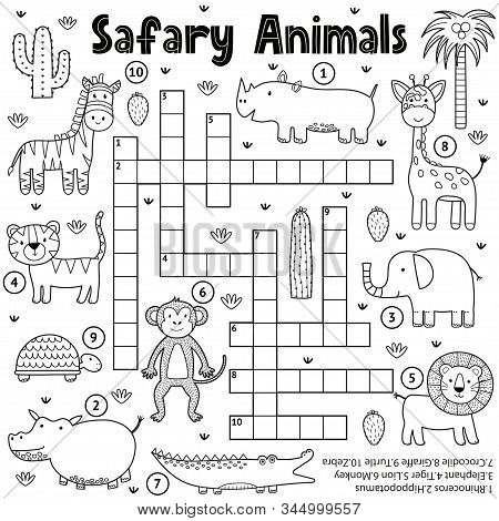 Black And White Crossword Game For Kids With Safari Animals