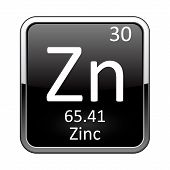 Zinc symbol.Chemical element of the periodic table on a glossy black background in a silver frame.Vector illustration. poster