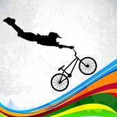 BMX cyclist performing stunt on abstract colorful wave background. EPS 10. poster