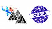 Mosaic airplane mountain crash icon and corroded stamp seal with Crash phrase. Mosaic vector is composed with airplane mountain crash pictogram and with scattered circle spots. poster