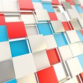 Futuristic copyspace background made of red and blue chaotic cubic plates poster