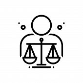Black line icon for ethical moral ethic virtuous righteous judgement poster