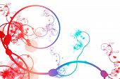 Red Blue Purple Abstract Curving Line Vines in White Background poster