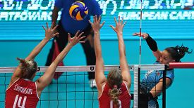 BUDAPEST, HUNGARY – August 23, 2019: Yelyzaveta Samadova (8) hits the ball, at the Croatia(red) – Azerbaijan (blue) 2019 CEV Volleyball European Championship's women volleyball game.