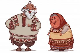 Couple Of Seniors Dressed In Traditional Russian Folk Costumes. Funny Cartoon Characters. Vector Ill