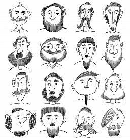 Portraits Of Various Men With Beard And Mustache. Hand Drawn Doodle. Funny Cartoon Characters. Vecto