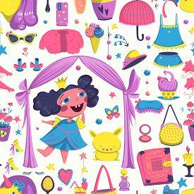 Seamless Pattern With Princess Elements Set. Girlish Fashion Design Background. Vector Illustration