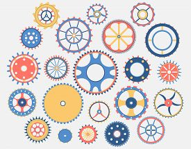 Collection Of Gears . Colorful Isolated Design Elements. Vector Illustration