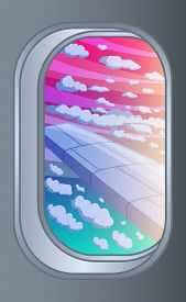 Scenic View Of Sunset, Clouds And On The Wing From Aircraft Window. Flying And Traveling Concept. Ve