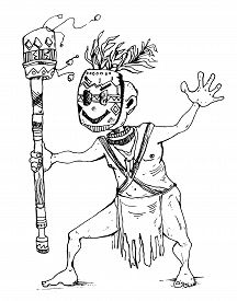 Shaman In Tribal Mask Dancing Ritual Dance. Cartoon Character. Vector Illustration