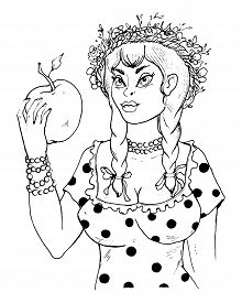 Pretty Country Girl With Braids And Wreath On Her Head Holding A Big Apple In Her Hand. Vector Illus