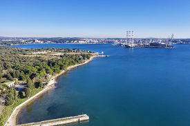 An Aerial Shot Of Pula, View Of The Industrial Part And The Former Shipyard Istria, Croatia