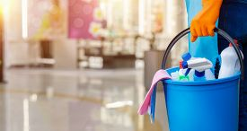Cleaning Services Concept . The Cleaning Lady With A Bucket And Cleaning Products .