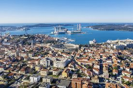 An Aerial View Of Pula With Amphitheatre And Port, Istria, Croatia