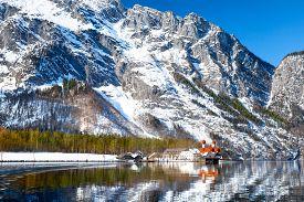 Church St. Bartholomew On Konigssee Lake In Winter. Berchtesgaden National Park, Bavaria, Germany