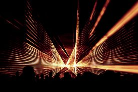Orange Laser Show Nightlife Club Stage With Party People Crowd. Luxury Entertainment With Audience S