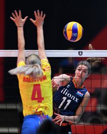 BUDAPEST, HUNGARY – August 23, 2019: Anne Bujis (11) in action, at the Netherlads (blue) – Romania (yellow) 2019 CEV Volleyball European Championship's women volleyball game.