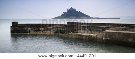 St Michael's Mount Bay Marazion Long Exposure Landscape With Harbour Wall During Twilight Panorama