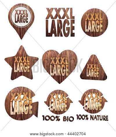 3d render of a isolated XL icon set of wooden 3d buttons