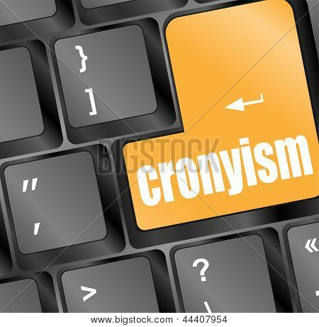 Cronyism On Laptop Keyboard Key, art illustration