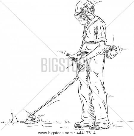 vector - Man cutting grass  with the trimmer