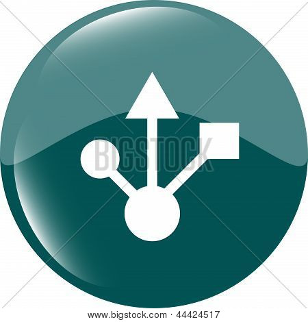 Usb 2.0 Or 3.0 Sign Icon On Glossy Button, art illustration