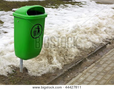 Green Pastic Garbage Bin Or Can On Street
