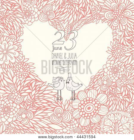 Romantic vector card with cute birds. Save the date card. Ideal for wedding invitation. Heart made of flowers in vintage style