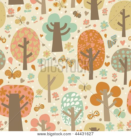 Outdoor concept seamless pattern. Cartoon trees and butterflies in vector background. Seamless pattern can be used for wallpaper, pattern fills, web page backgrounds, surface textures.