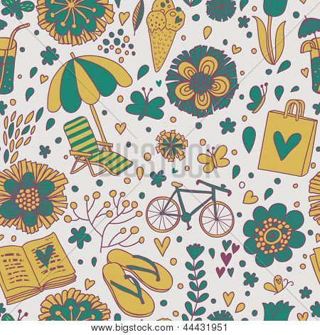 Vintage seamless pattern with cute cartoon elements. Seamless pattern can be used for wallpaper, pattern fills, web page backgrounds, surface textures.
