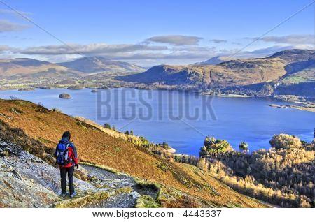 Female Hiker Above Derwent Water