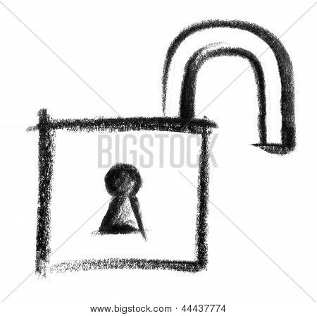 a crayon-sketched illustration of a open padlock poster