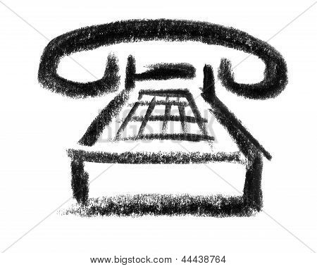 a crayon - sketched illustration of a telephone poster