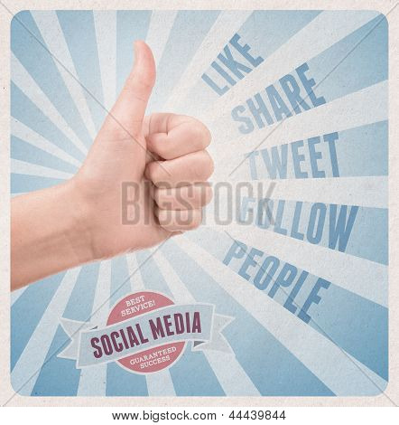 Retro Style Poster Of Social Media Service