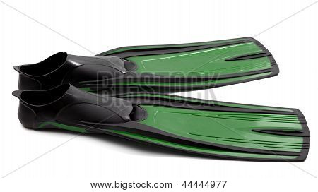 Flippers For Diving On White Background
