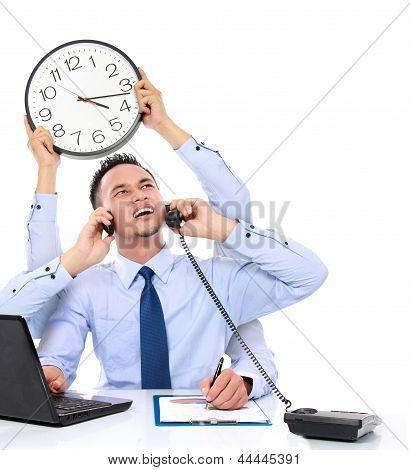Businessman Busy Multitasking