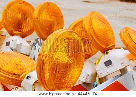 Traffic barricades with orange flashers