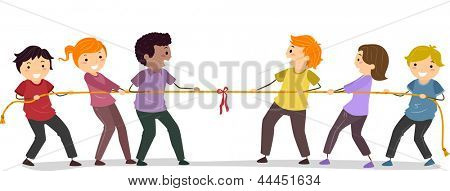 Illustration of Stickman People playing Tug Of War